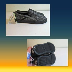 Youth Gray Blk  Marled Slid on Shoe Sneakers Sz11